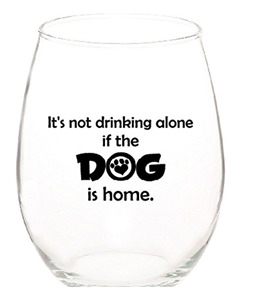 Dog Stemless Wine Glass