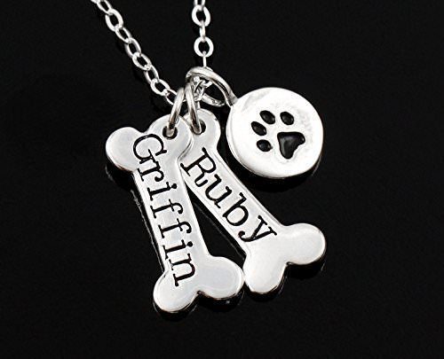 Gift Dog Bone & Dog Paw Print Necklace